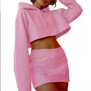 Barbie pink crop to sweatshirt skirt set outfit